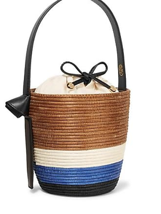 Cesta Collective Lunchpail Leather-trimmed Woven Sisal Bucket Bag - Tan