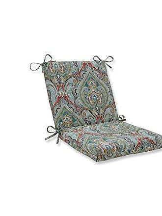 Pillow Perfect Outdoor | Indoor Pretty Witty Reef Squared Corners Chair Cushion, Blue, 36.5 X 18 X 3