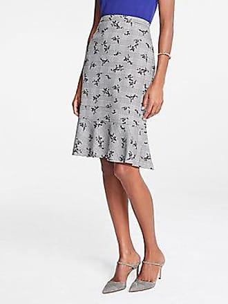 ANN TAYLOR Plaid Floral Flounce Pencil Skirt