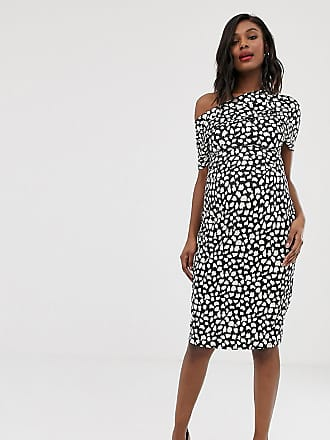 838330248b2 Asos Maternity ASOS DESIGN Maternity pleated shoulder pencil dress in mono  spot print