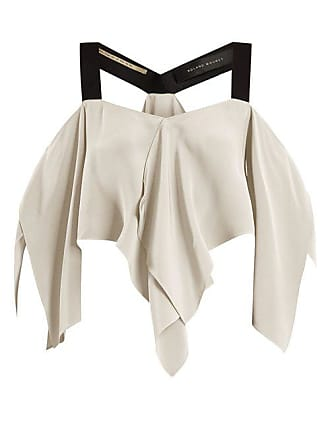 Roland Mouret Bach Off The Shoulder Draped Silk Crepe Top - Womens - White