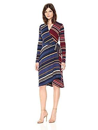 Bcbgmaxazria BCBGMax Azria Womens Gracee Knit Asymmetrical Striped Wrap Dress, Port Combo, S