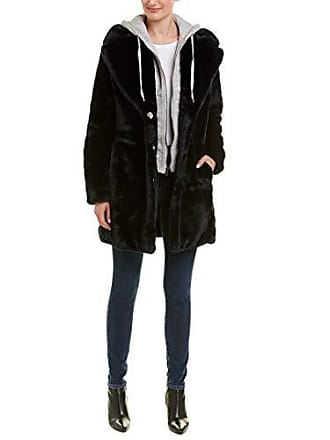 Kendall + Kylie Womens Faux Rabbit Fur Jacket, Midnight, X-Large