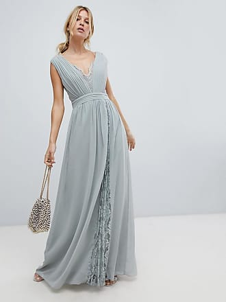 Little Mistress maxi dress with lace inserts - Green