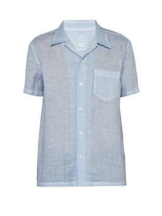 120% Lino Short Sleeve Linen Bowling Shirt - Mens - Light Blue