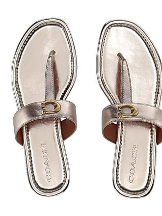 e3bbde66e Coach Jessie Thong Sandal with Signature Buckle (Champagne Metallic  Leather) Womens Sandals