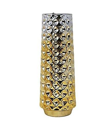 Sagebrook Home 13425-02 Ceramic Vase, 6 x 6 x 16, Silver/Gold