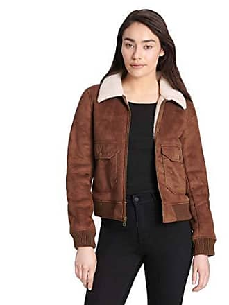 Levi's Womens Faux Leather Sherpa Aviator Bomber Jacket, Cognac, Large