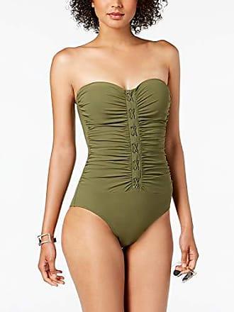 2075783bd3c Gottex Womens Center Detail Bandeau One Piece Swimsuit, Moto Olive, 8