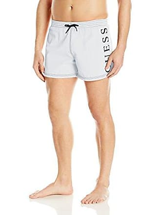 0c1515ebd84c0 Guess Mens Side Logo 13 Inch Elastic Waist Swim Trunk, Optic White, Large