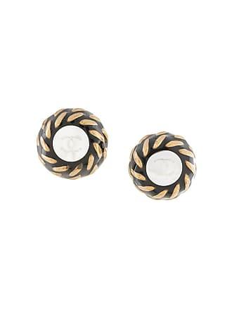 Chanel CC logo shell earrings - Black