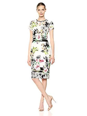 Gabby Skye Womens Short Sleeve Round Neck Key Hole Midi Scuba Sheath Dress, Ivory Multi/Black, 14