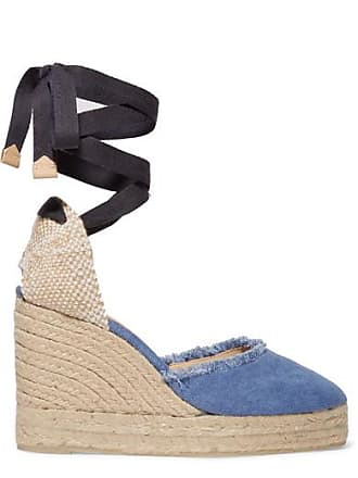 286005aae33 Castaner Canela 80 Frayed Denim Wedge Espadrilles - Light denim