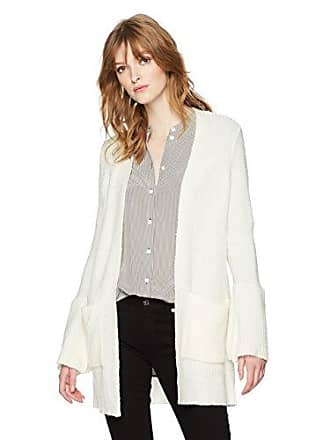 Kensie Womens Warm Touch Open Cardigan with Bell Sleeve, French Vanilla, XS