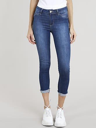Sawary Calça Jeans Feminina Cropped Sawary com Barra Dobrada Azul Escuro