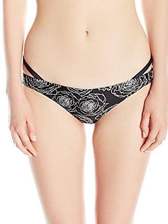 Rvca Womens Bold Rose Skimpy Bikini Bottom, Black, Large