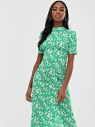 Asos Tall ASOS DESIGN Tall midi tea dress with buttons in floral print-Multi