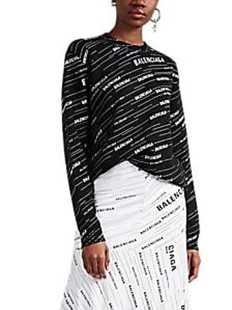 7be49e49ce5ab Balenciaga Womens Logo-Jacquard Wool Sweater - White Size S