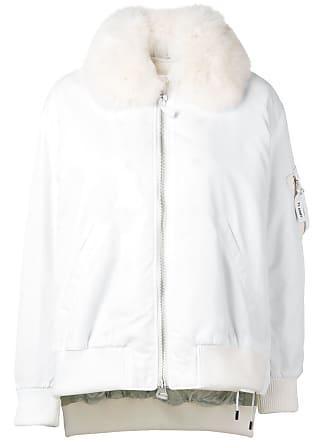 Yves Salomon - Army bomber jacket with fur collar - White