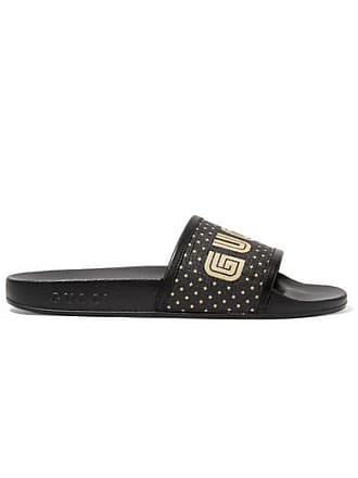 2cff4f421c5 Gucci Leather-trimmed Logo-print Canvas Slides - Black