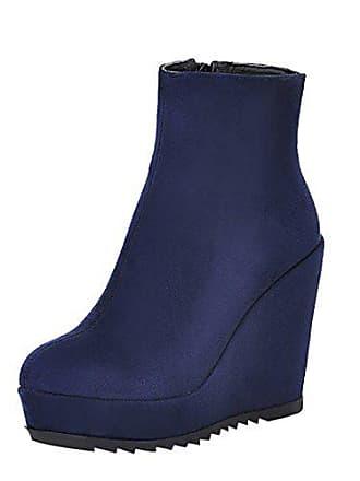 1ca949d982b8b7 UH Damen Keilabsatz Plateau Stiefeletten High Heels Ankle Boots mit Fell  und Reißverschluss Warm Bequeme Schuhe