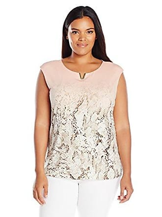 8aae3c1f940 Calvin Klein Womens Plus Size Print Extended Shoulder Top
