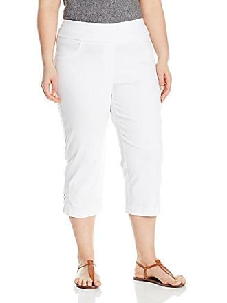 Ruby Rd. Womens Petite Pull-On Super Stretch Solar Millennium Tech Cropped Capri With Embellished Slit Hem, White, 6P