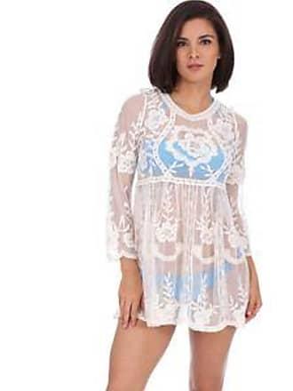 Lola Swimwear Vestido con Bordado de Flores, con Manga Larga y Acabado Transparente<br>Beige