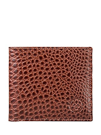Maxwell Scott Maxwell Scott - Luxury Crocodile Pattern Mens Wallet with Coin Pocket in Tan