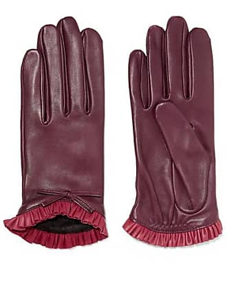 Agnelle Josie Bow-embellished Ruffled Leather Gloves - Claret