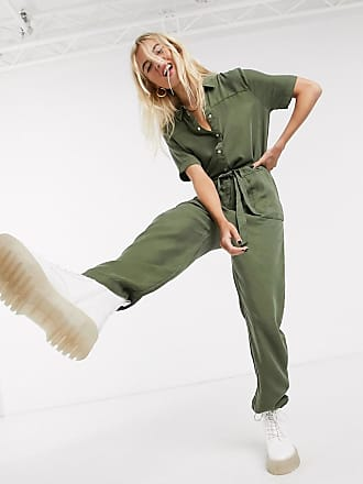Noisy May Noisy utility jumpsuit with tie waist in khaki-Green