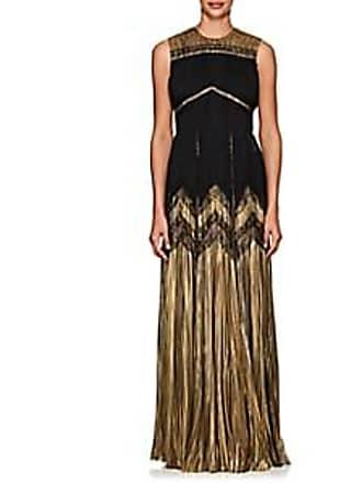 a349f3294da J. Mendel Womens Silk-Blend Lamé   Chiffon Sleeveless Gown - Black Gold