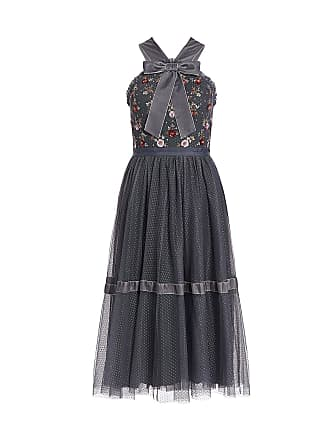 Needle & Thread Esther Bow Tie Ruffled Floral Embroidered Tulle Knee Length Dress Navy