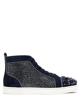 Christian Louboutin Lou Mix Spiked Suede High Top Trainers - Mens - Blue