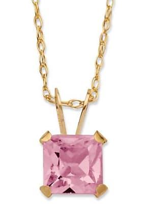 PalmBeach Jewelry Princess-Cut Birthstone Pendant Necklace in 10k Gold - June- Simulated Alexandrite