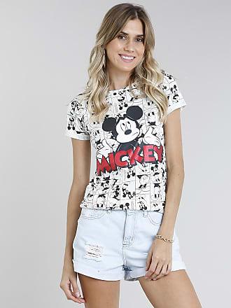 Disney Blusa Feminina Mickey Estampada Manga Curta Decote Redondo Off White