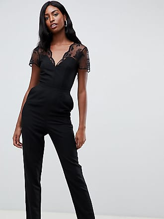 d5c765ea420 Asos Tall ASOS DESIGN Tall jumpsuit with lace detail   tapered leg - Black