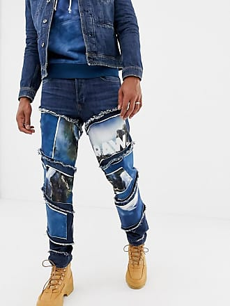G-Star x Jaden Smith spiral waterfall patches 3d slim jeans - Blue