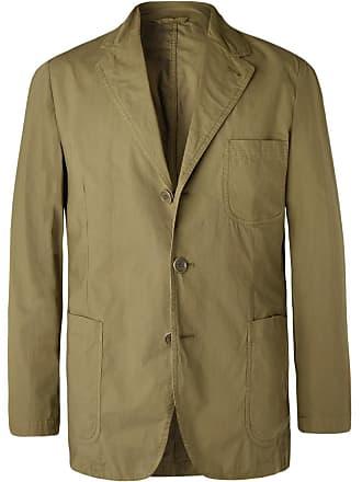 Aspesi Army-green Slim-fit Unstructured Garment-dyed Cotton Blazer - Army green
