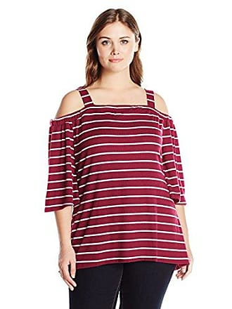 c83dd73678427 Notations Womens Plus Size Stripe 3 4 Sleeve Off The Shoulder Top with  Straps High