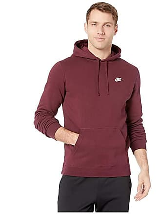 0faa72a5f825 Nike Club Fleece Pullover Hoodie (Night Maroon Night Maroon White) Mens  Fleece