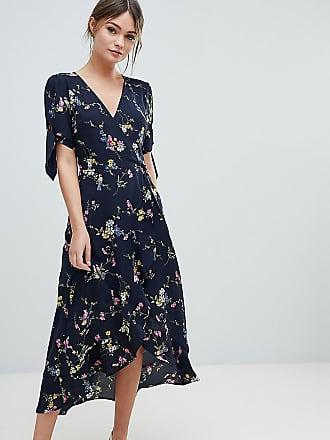 b7a92bfcdef Oasis Robe cache-coeur mi-longue avec ourlet à volants et motif floral -