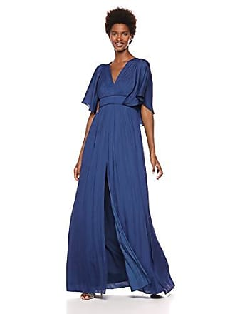 ac4e529acbbf Halston Heritage Womens Cape Sleeve V Neck Flowy Pleated Gown, Navy, 10