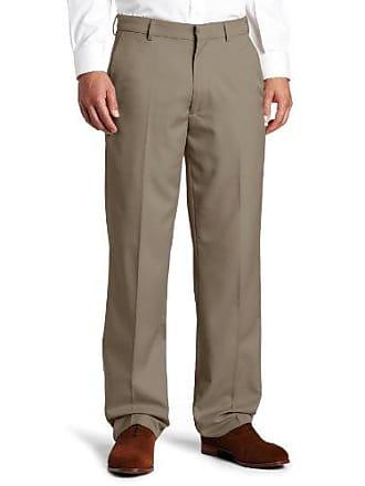 Haggar Mens Flex Gabardine Solid Plain Front Dress Pant,Brown,36x34