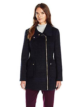 Ellen Tracy Outerwear Womens Zip up Plaid/Herringbone Wool Coat, Black/Navy, 8