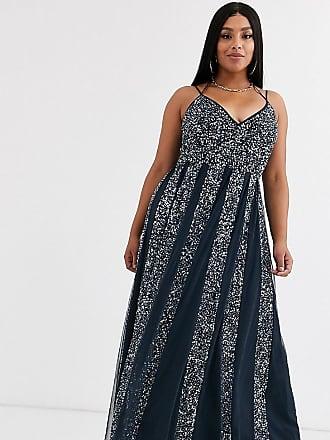 Asos Curve ASOS DESIGN Curve cami strap maxi dress in mesh with embellished sequin godet panels-Silver