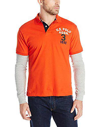 U.S.Polo Association Mens Long Sleeve Slim Fit Polo and Thermal Hang Down, Harvest Orange, Large