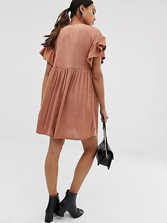 ec54faaad23 Asos Maternity ASOS DESIGN Maternity metallic frill sleeve smock dress -  Pink
