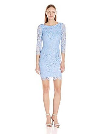 42272b66538 Adrianna Papell Womens Long Sleeve Metallic Lace Sheath Cocktail Dress