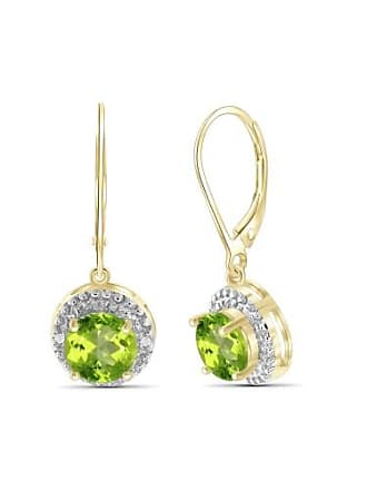 JewelersClub JewelersClub 2 3/4 Carat T.G.W. Peridot And White Diamond Accent 14kt Gold Over Silver Drop Earrings